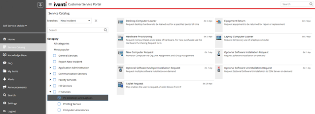 Ivanti Service Manager - service catalog